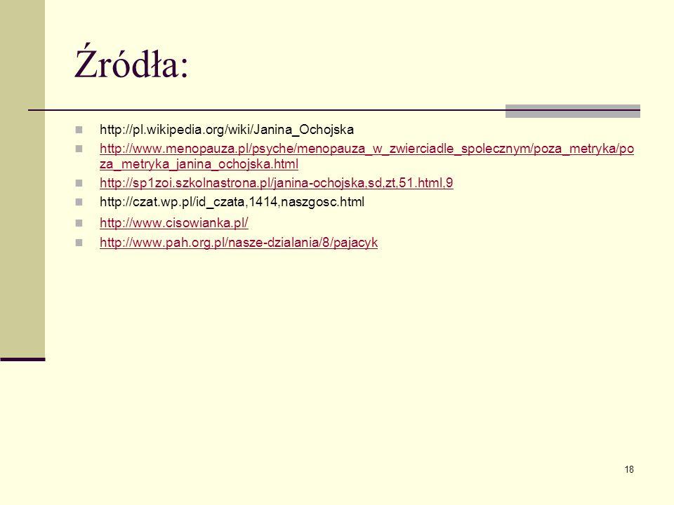Źródła: http://pl.wikipedia.org/wiki/Janina_Ochojska http://www.menopauza.pl/psyche/menopauza_w_zwierciadle_spolecznym/poza_metryka/po za_metryka_jani