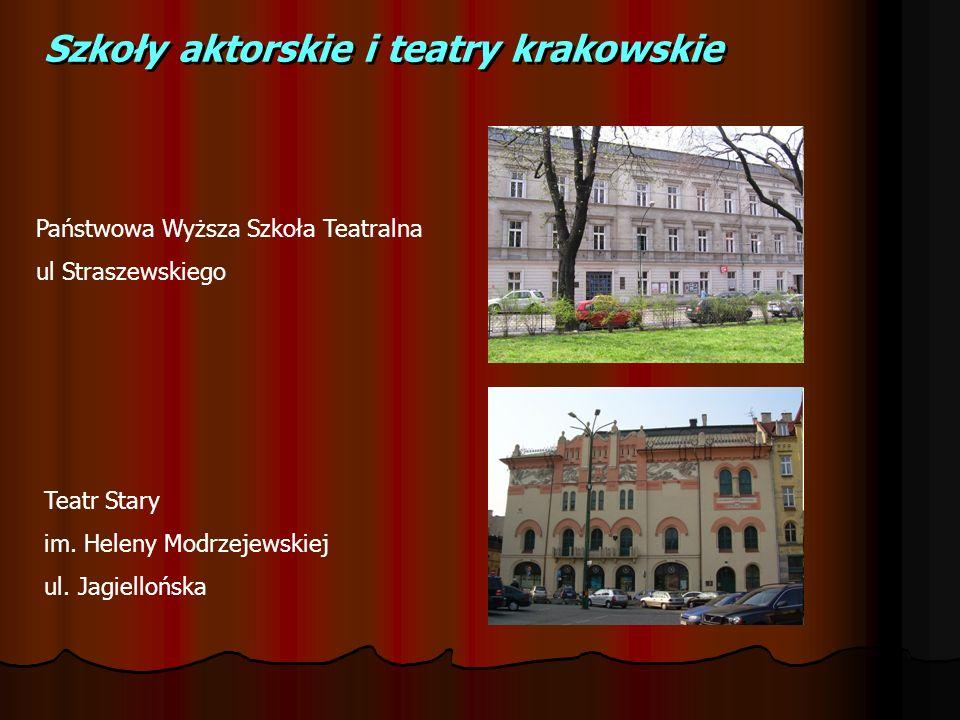 Szkoły aktorskie i teatry krakowskie Państwowa Wyższa Szkoła Teatralna ul Straszewskiego Teatr Stary im. Heleny Modrzejewskiej ul. Jagiellońska