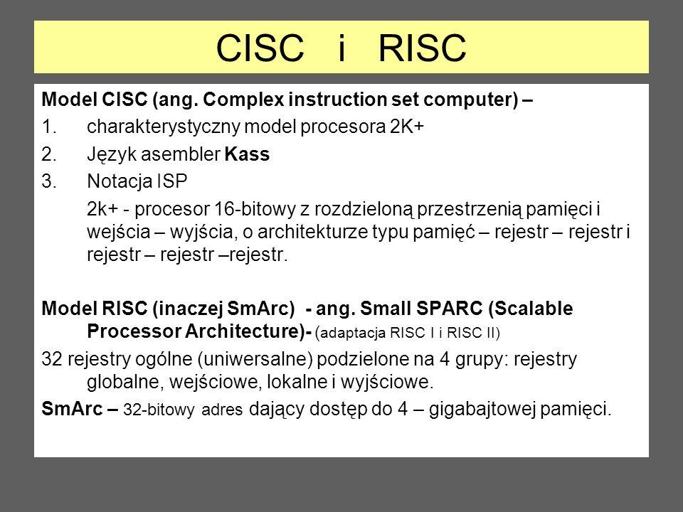 CISC i RISC Model CISC (ang. Complex instruction set computer) – 1.charakterystyczny model procesora 2K+ 2.Język asembler Kass 3.Notacja ISP 2k+ - pro