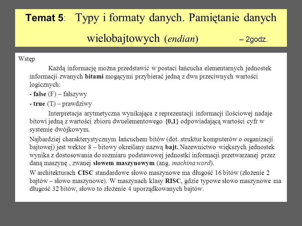 Temat 5 : Typy i formaty danych. Pamiętanie danych wielobajtowych (endian) – 2godz. Wstęp Każdą informację można przedstawić w postaci łańcucha elemen
