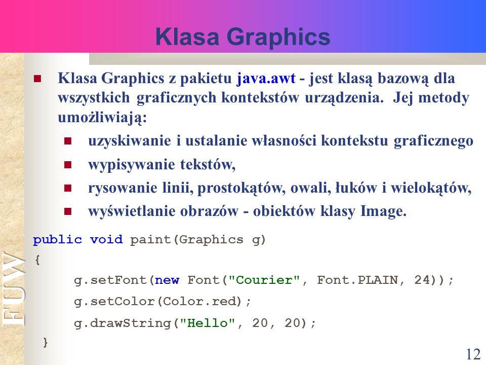 12 Klasa Graphics Klasa Graphics z pakietu java.awt - jest klasą bazową dla wszystkich graficznych kontekstów urządzenia.
