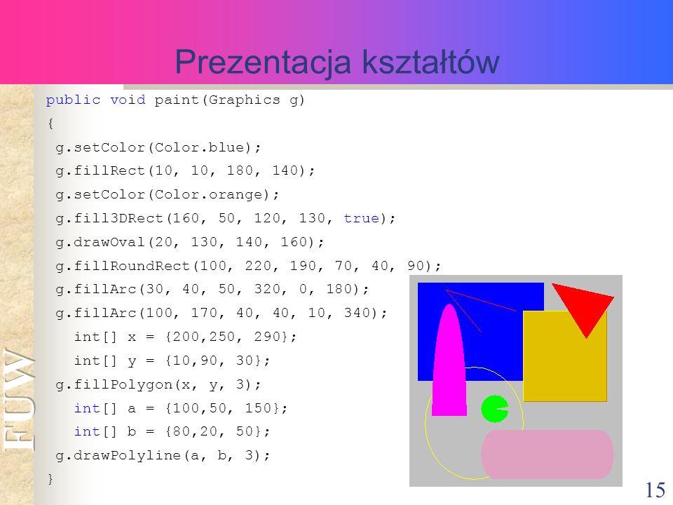 15 Prezentacja kształtów public void paint(Graphics g) { g.setColor(Color.blue); g.fillRect(10, 10, 180, 140); g.setColor(Color.orange); g.fill3DRect(160, 50, 120, 130, true); g.drawOval(20, 130, 140, 160); g.fillRoundRect(100, 220, 190, 70, 40, 90); g.fillArc(30, 40, 50, 320, 0, 180); g.fillArc(100, 170, 40, 40, 10, 340); int[] x = {200,250, 290}; int[] y = {10,90, 30}; g.fillPolygon(x, y, 3); int[] a = {100,50, 150}; int[] b = {80,20, 50}; g.drawPolyline(a, b, 3); }