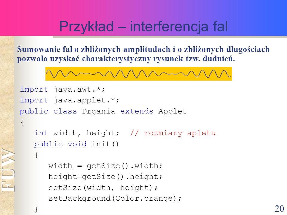 20 Przykład – interferencja fal Sumowanie fal o zbliżonych amplitudach i o zbliżonych długościach pozwala uzyskać charakterystyczny rysunek tzw.
