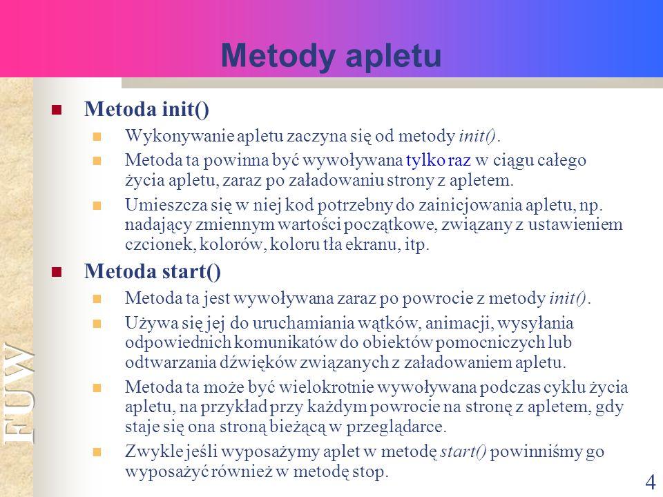 4 Metoda init() Wykonywanie apletu zaczyna się od metody init().