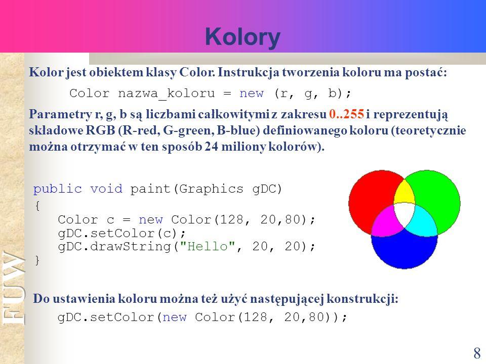 8 Kolory Kolor jest obiektem klasy Color.