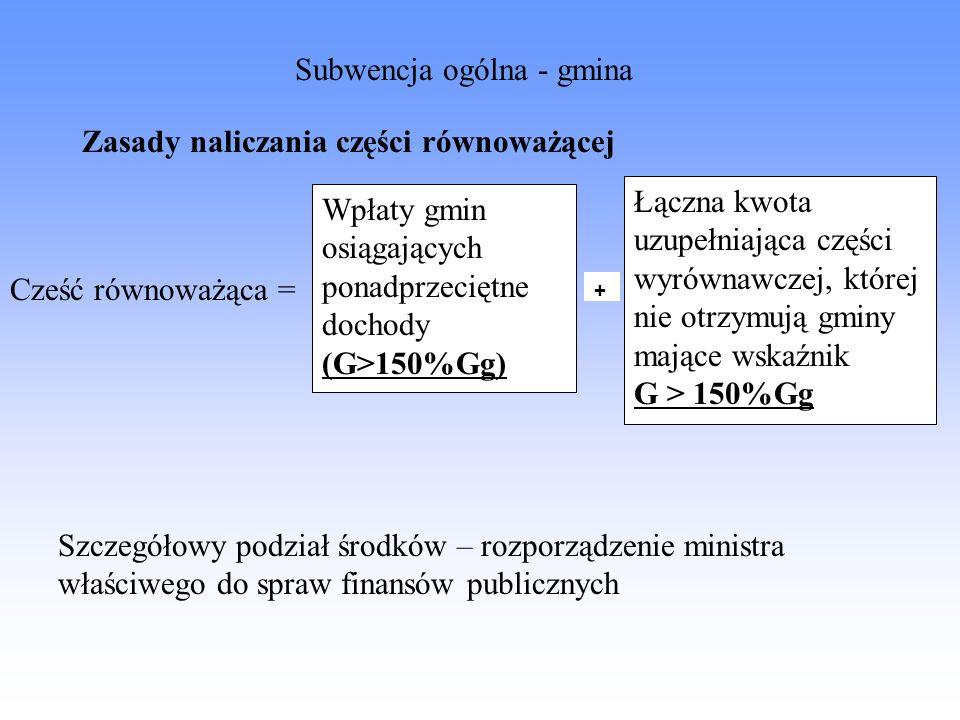 Zasady naliczania części równoważącej Wpłaty gmin osiągających ponadprzeciętne dochody (G>150%Gg) Łączna kwota uzupełniająca części wyrównawczej, któr
