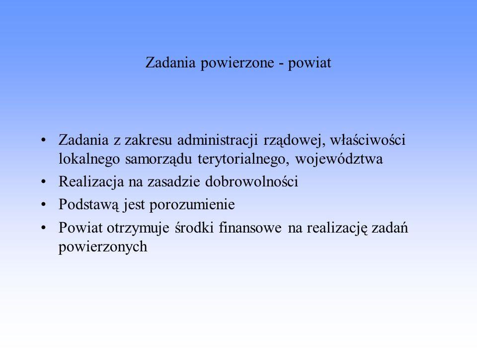Zadania powierzone - powiat Zadania z zakresu administracji rządowej, właściwości lokalnego samorządu terytorialnego, województwa Realizacja na zasadz