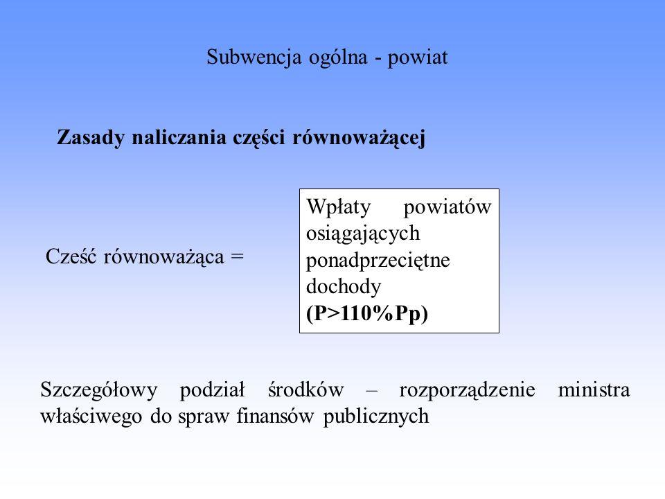 Wpłaty powiatów osiągających ponadprzeciętne dochody (P>110%Pp) Cześć równoważąca = Szczegółowy podział środków – rozporządzenie ministra właściwego d