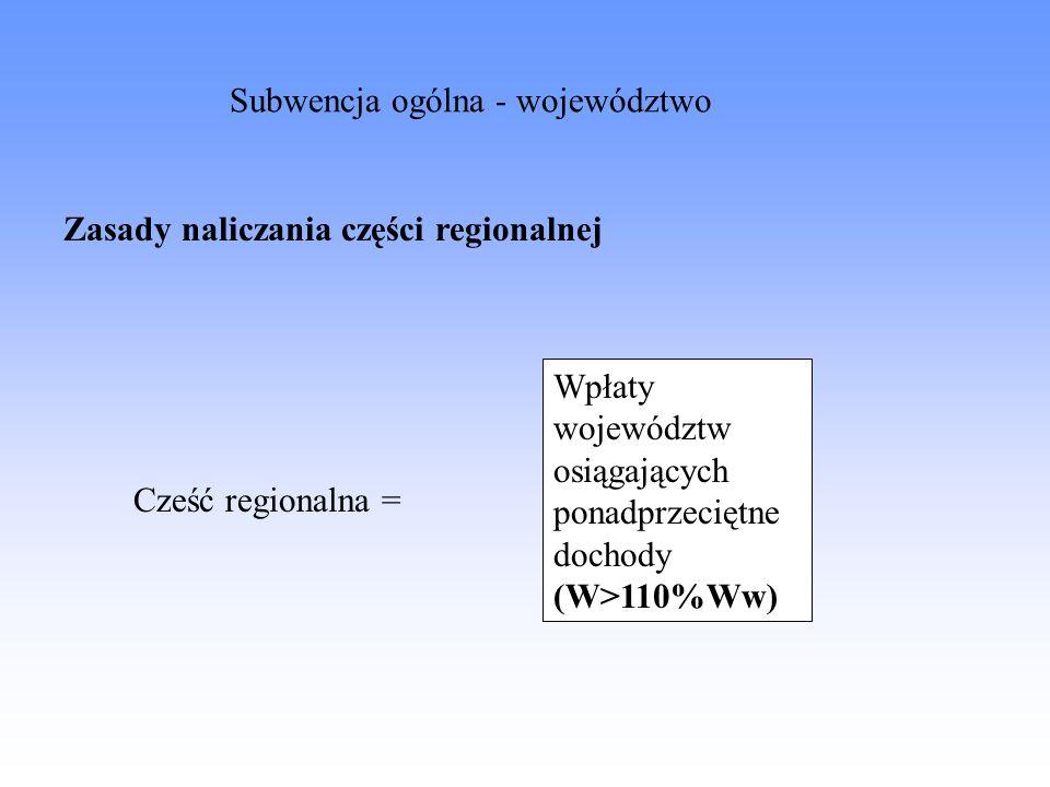 Zasady naliczania części regionalnej Cześć regionalna = Wpłaty województw osiągających ponadprzeciętne dochody (W>110%Ww) Subwencja ogólna - województ