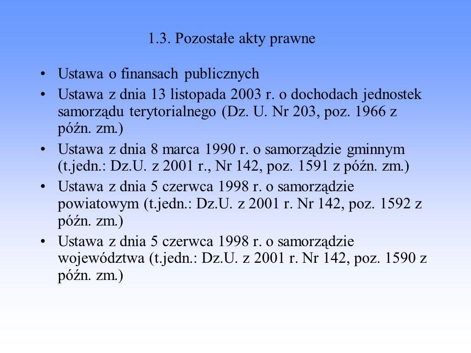 1.3. Pozostałe akty prawne Ustawa o finansach publicznych Ustawa z dnia 13 listopada 2003 r. o dochodach jednostek samorządu terytorialnego (Dz. U. Nr