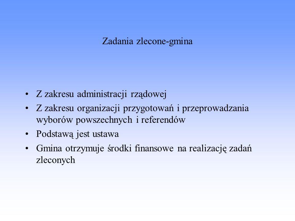 Zadania zlecone-gmina Z zakresu administracji rządowej Z zakresu organizacji przygotowań i przeprowadzania wyborów powszechnych i referendów Podstawą