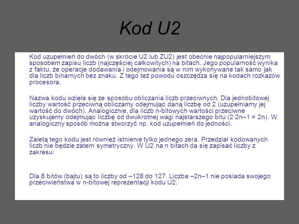 Kod U2 Kod uzupełnień do dwóch (w skrócie U2 lub ZU2) jest obecnie najpopularniejszym sposobem zapisu liczb (najczęściej całkowitych) na bitach. Jego