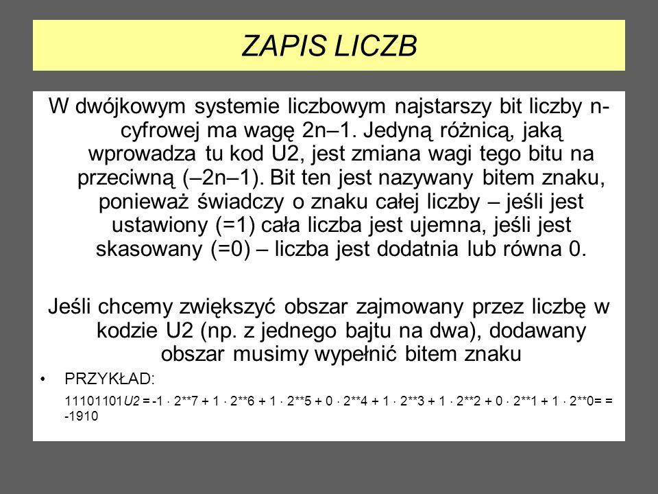 LICZBA PRZECIWNA Aby zamienić liczbę w U2 na przeciwną, należy wykonać dwa kroki: dokonać inwersji bitów, czyli pozamieniać 0 na 1 i odwrotnie zwiększyć wynik o 1.