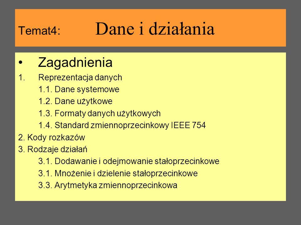Temat4: Dane i działania Zagadnienia 1.Reprezentacja danych 1.1. Dane systemowe 1.2. Dane użytkowe 1.3. Formaty danych użytkowych 1.4. Standard zmienn
