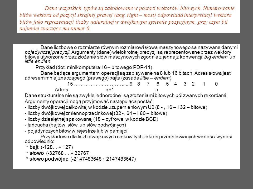 Dane wszystkich typów są zakodowane w postaci wektorów bitowych. Numerowanie bitów wektora od pozycji skrajnej prawej (ang. right – most) odpowiada in