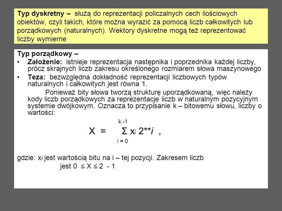 Typ dyskretny – służą do reprezentacji policzalnych cech ilościowych obiektów, czyli takich, które można wyrazić za pomocą liczb całkowitych lub porzą