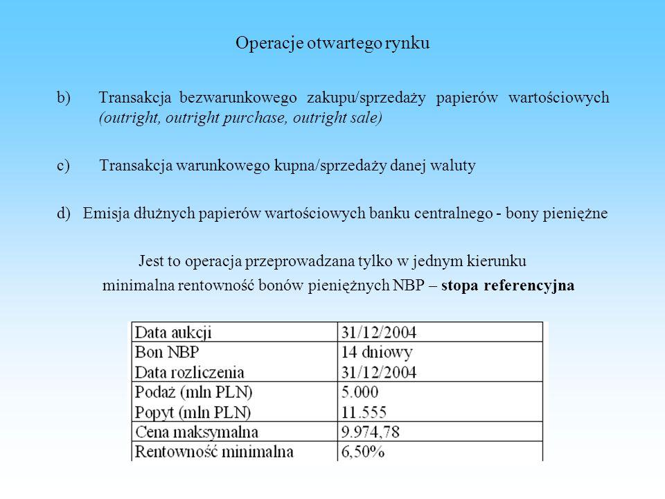 Operacje otwartego rynku b) Transakcja bezwarunkowego zakupu/sprzedaży papierów wartościowych (outright, outright purchase, outright sale) c) Transakc