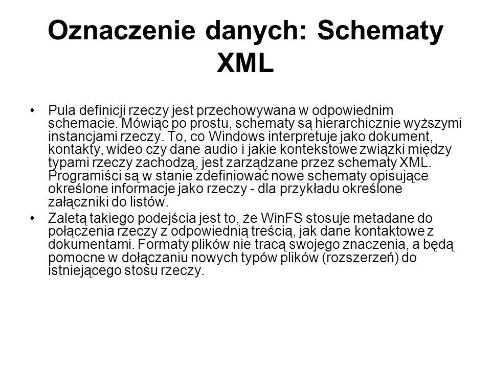 Oznaczenie danych: Schematy XML Pula definicji rzeczy jest przechowywana w odpowiednim schemacie.