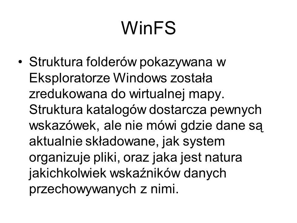 WinFS Struktura folderów pokazywana w Eksploratorze Windows została zredukowana do wirtualnej mapy. Struktura katalogów dostarcza pewnych wskazówek, a