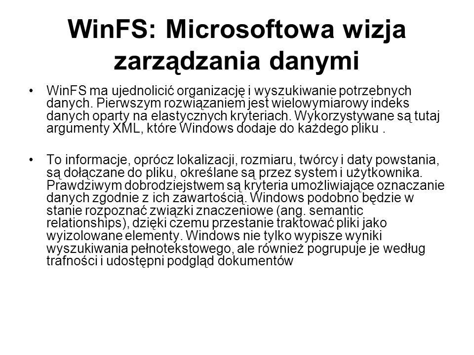 WinFS: Microsoftowa wizja zarządzania danymi WinFS ma ujednolicić organizację i wyszukiwanie potrzebnych danych. Pierwszym rozwiązaniem jest wielowymi