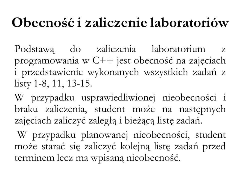 Przygotowanie do zajęć Student powinien przychodzić na laboratorium przygotowany.