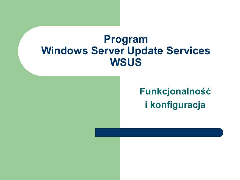 Program Windows Server Update Services WSUS Funkcjonalność i konfiguracja