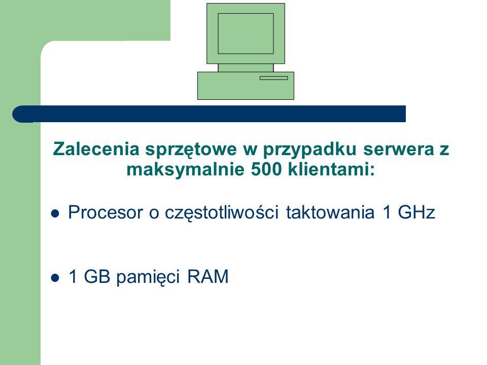Zalecenia sprzętowe w przypadku serwera z maksymalnie 500 klientami: Procesor o częstotliwości taktowania 1 GHz 1 GB pamięci RAM