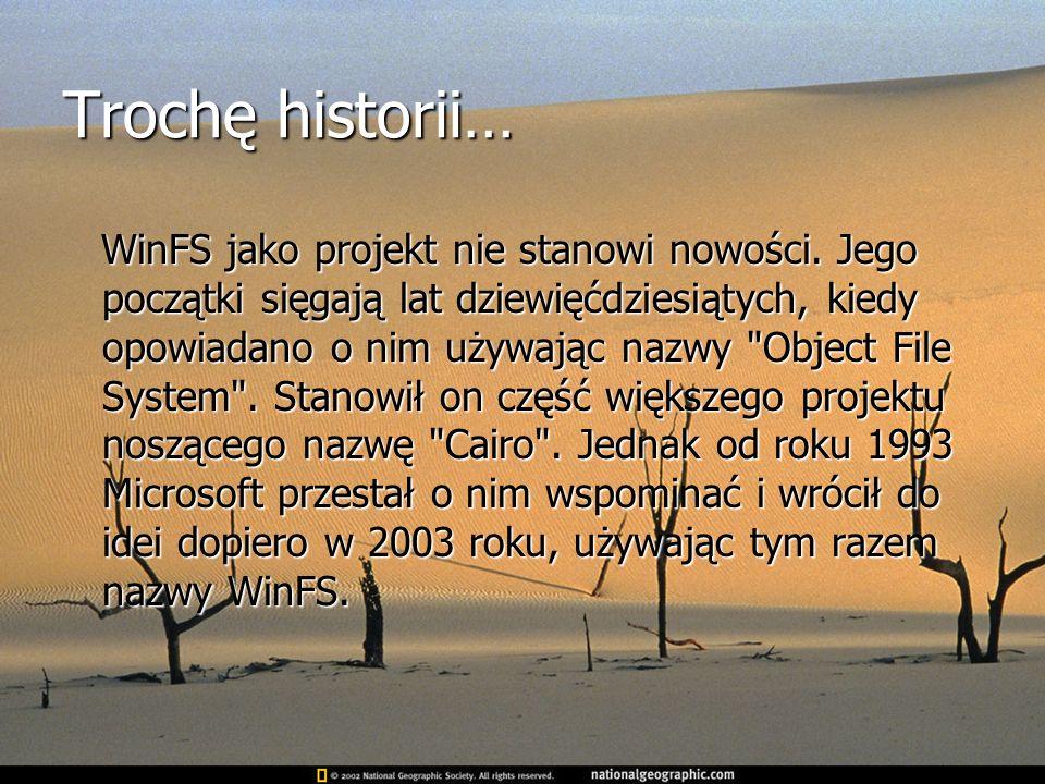 Trochę historii… WinFS jako projekt nie stanowi nowości. Jego początki sięgają lat dziewięćdziesiątych, kiedy opowiadano o nim używając nazwy