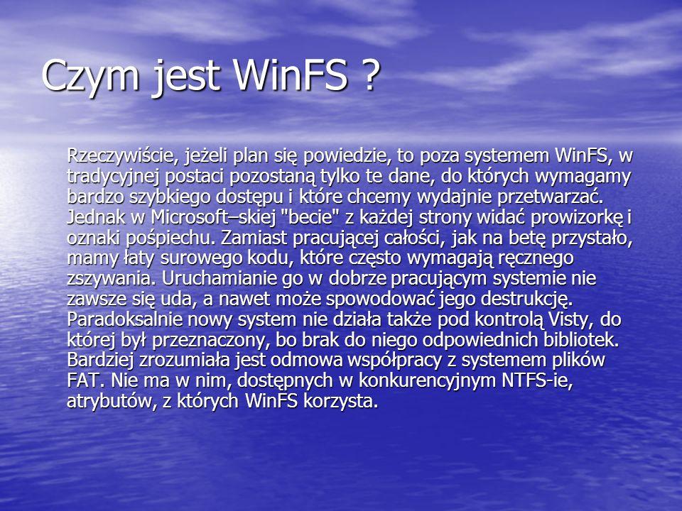 Czym jest WinFS ? Rzeczywiście, jeżeli plan się powiedzie, to poza systemem WinFS, w tradycyjnej postaci pozostaną tylko te dane, do których wymagamy