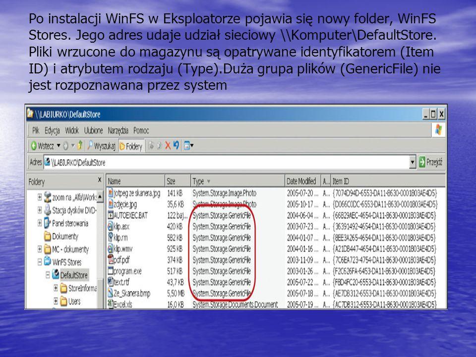 Po instalacji WinFS w Eksploatorze pojawia się nowy folder, WinFS Stores. Jego adres udaje udział sieciowy \\Komputer\DefaultStore. Pliki wrzucone do