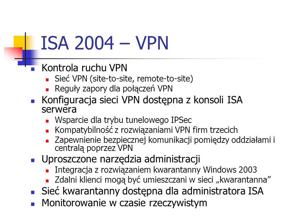ISA 2004 – VPN Kontrola ruchu VPN Sieć VPN (site-to-site, remote-to-site) Reguły zapory dla połączeń VPN Konfiguracja sieci VPN dostępna z konsoli ISA