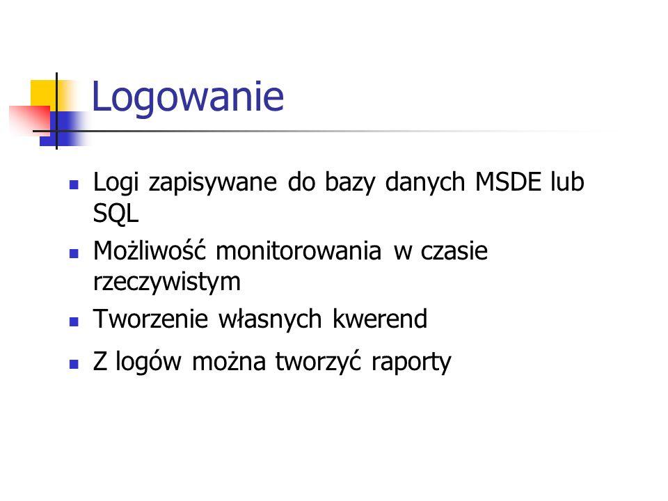 Logowanie Logi zapisywane do bazy danych MSDE lub SQL Możliwość monitorowania w czasie rzeczywistym Tworzenie własnych kwerend Z logów można tworzyć r
