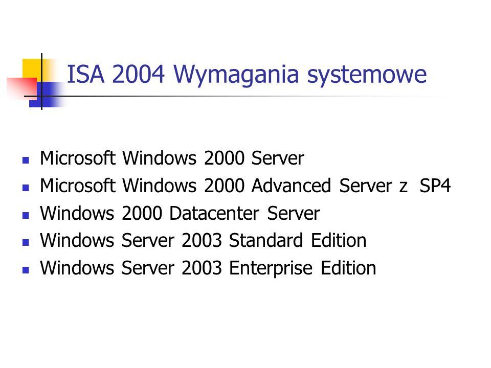 ISA 2004 Wymagania systemowe Microsoft Windows 2000 Server Microsoft Windows 2000 Advanced Server z SP4 Windows 2000 Datacenter Server Windows Server