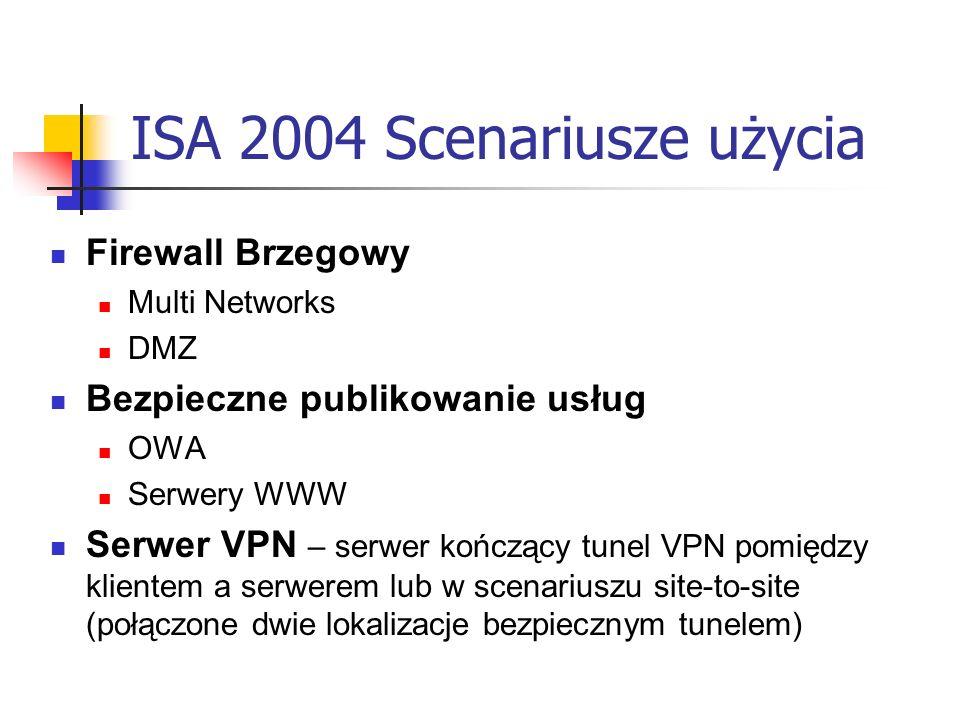 ISA 2004 Scenariusze użycia Firewall Brzegowy Multi Networks DMZ Bezpieczne publikowanie usług OWA Serwery WWW Serwer VPN – serwer kończący tunel VPN