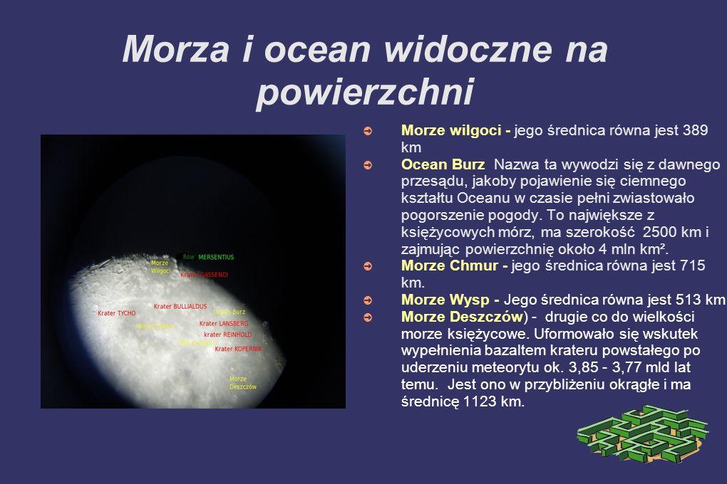 Morza i ocean widoczne na powierzchni Morze wilgoci - jego średnica równa jest 389 km Ocean Burz Nazwa ta wywodzi się z dawnego przesądu, jakoby pojaw