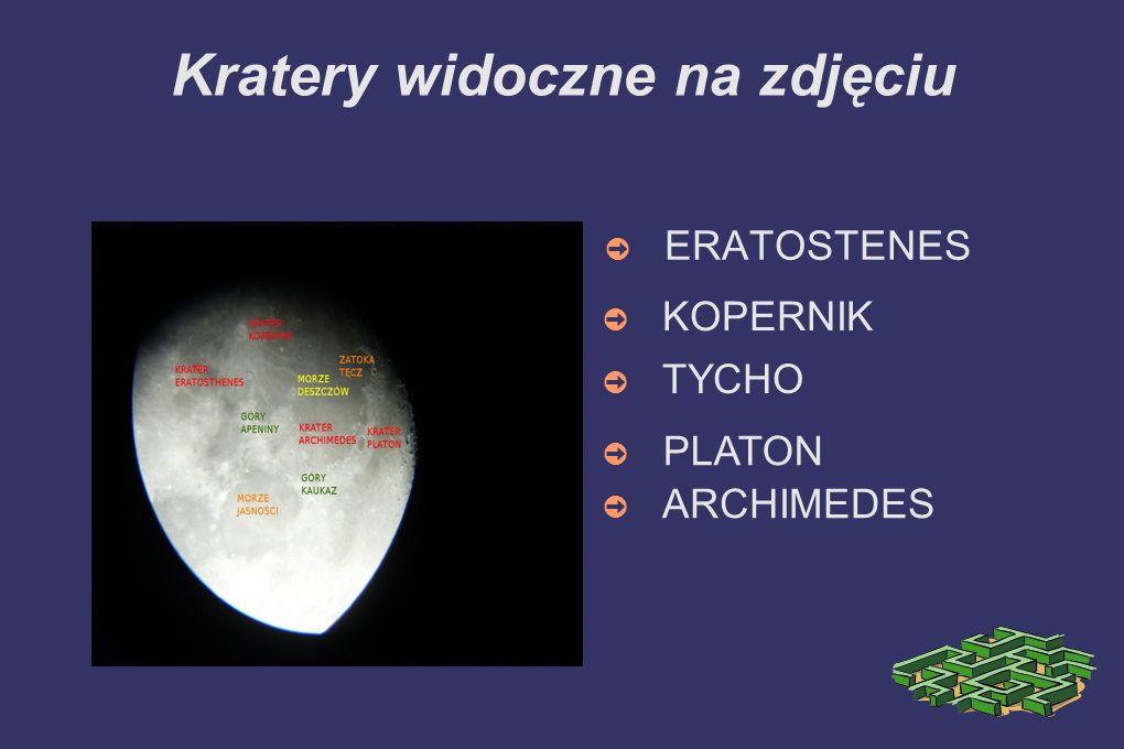 Kratery widoczne na zdjęciu ERATOSTENES TYCHO KOPERNIK PLATON ARCHIMEDES