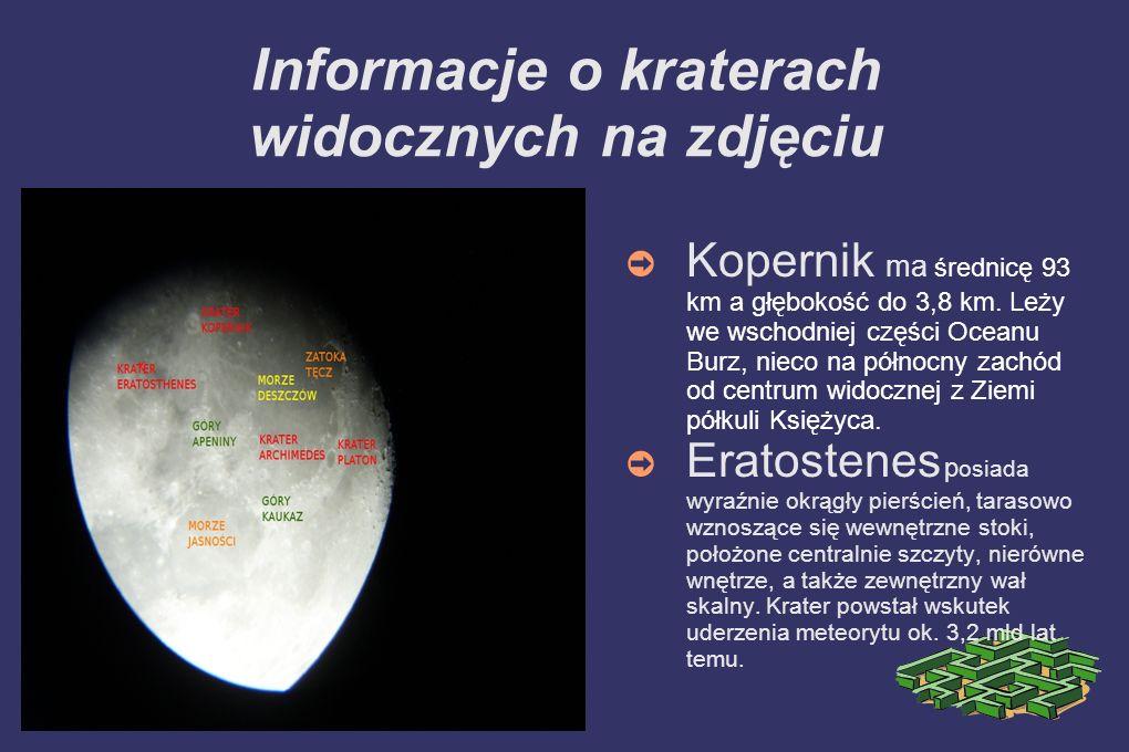 Informacje o kraterach widocznych na zdjęciu Kopernik ma średnicę 93 km a głębokość do 3,8 km. Leży we wschodniej części Oceanu Burz, nieco na północn