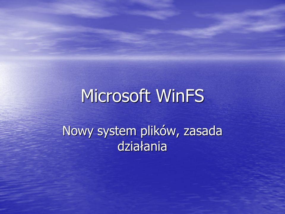 Microsoft WinFS Nowy system plików, zasada działania