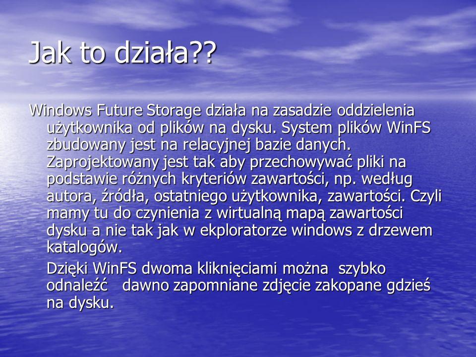Jak to działa?? Windows Future Storage działa na zasadzie oddzielenia użytkownika od plików na dysku. System plików WinFS zbudowany jest na relacyjnej