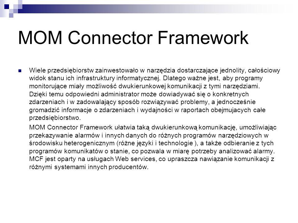 MOM Connector Framework Wiele przedsiębiorstw zainwestowało w narzędzia dostarczające jednolity, całościowy widok stanu ich infrastruktury informatycznej.