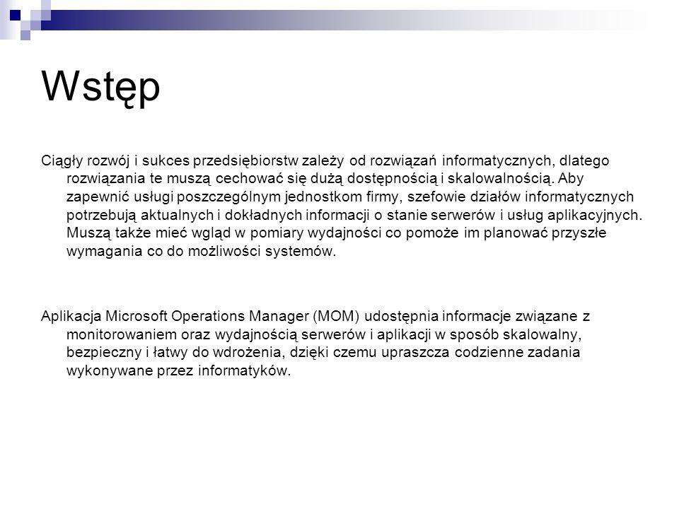 Agenci MOM Oprogramowanie agenta MOM 2005 działa na zarządzanych serwerach.