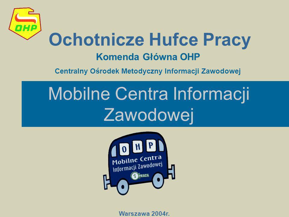 Mobilne Centra Informacji Zawodowej Ochotnicze Hufce Pracy Warszawa 2004r. Komenda Główna OHP Centralny Ośrodek Metodyczny Informacji Zawodowej