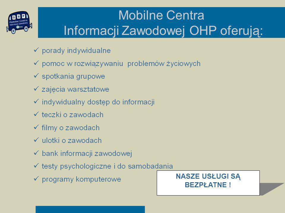 Mobilne Centra Informacji Zawodowej OHP oferują: NASZE USŁUGI SĄ BEZPŁATNE !