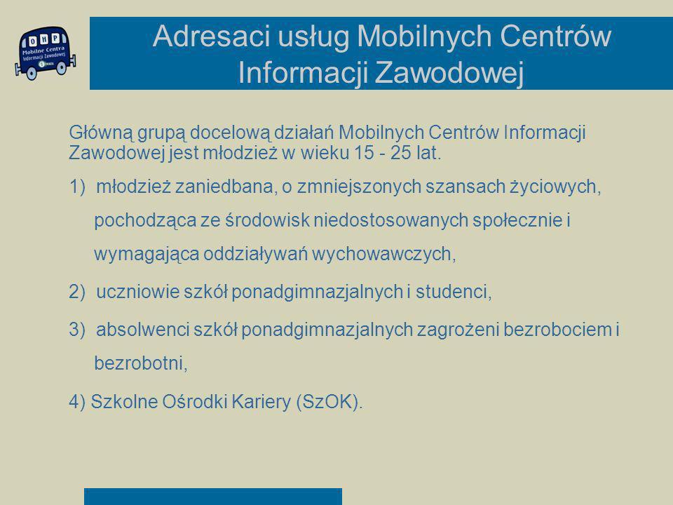 Adresaci usług Mobilnych Centrów Informacji Zawodowej Główną grupą docelową działań Mobilnych Centrów Informacji Zawodowej jest młodzież w wieku 15 -