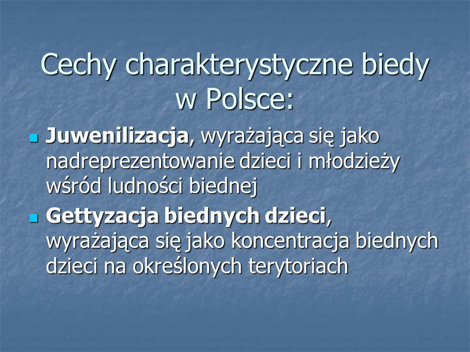 Cechy charakterystyczne biedy w Polsce: Juwenilizacja, wyrażająca się jako nadreprezentowanie dzieci i młodzieży wśród ludności biednej Juwenilizacja,