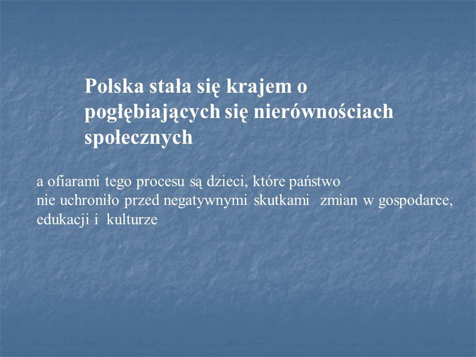 Polska stała się krajem o pogłębiających się nierównościach społecznych a ofiarami tego procesu są dzieci, które państwo nie uchroniło przed negatywny