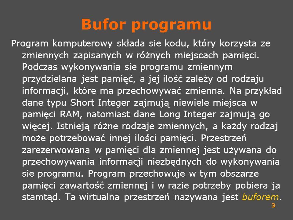 3 Bufor programu Program komputerowy składa sie kodu, który korzysta ze zmiennych zapisanych w różnych miejscach pamięci. Podczas wykonywania sie prog