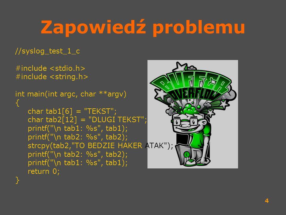 4 Zapowiedź problemu //syslog_test_1_c #include int main(int argc, char **argv) { char tab1[6] =