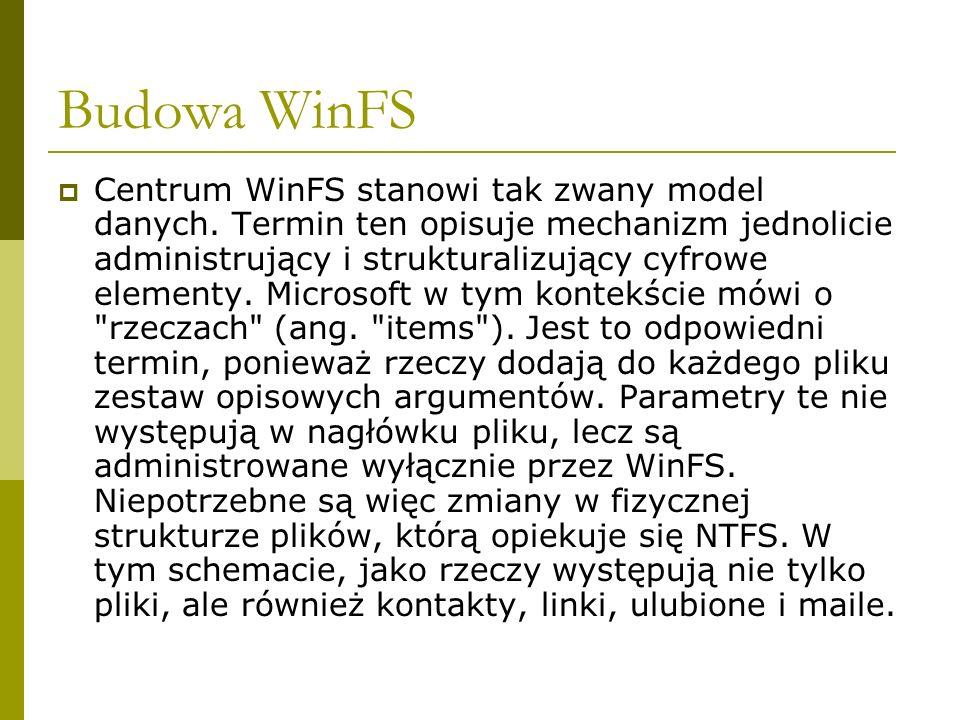 Budowa WinFS Centrum WinFS stanowi tak zwany model danych.