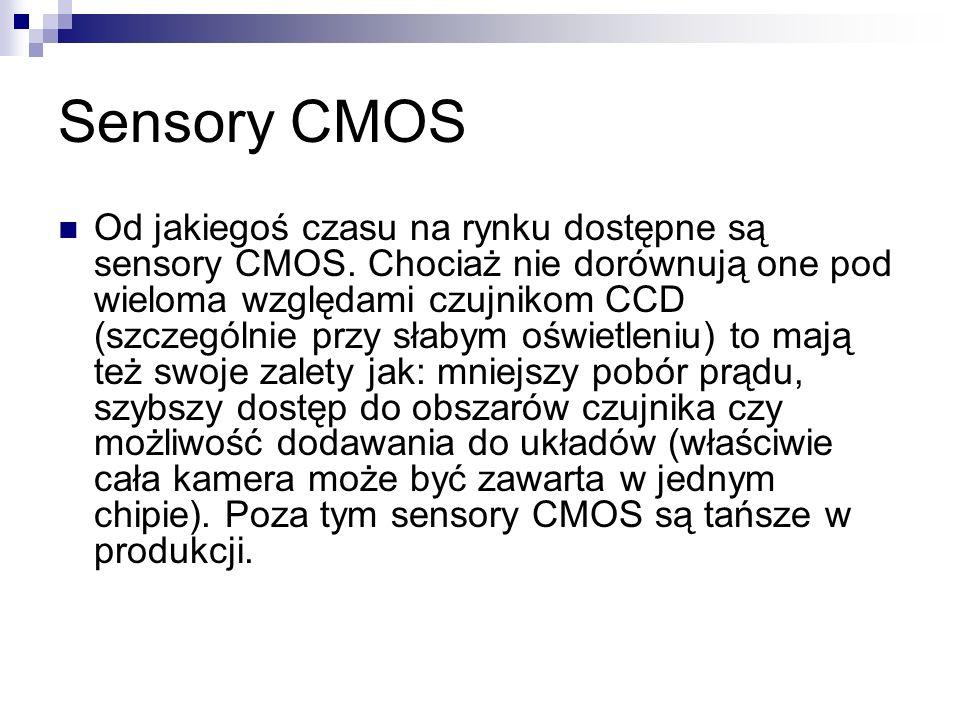Sensory CMOS Od jakiegoś czasu na rynku dostępne są sensory CMOS. Chociaż nie dorównują one pod wieloma względami czujnikom CCD (szczególnie przy słab
